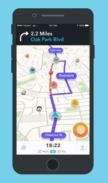 Waze doesn't overwhelm users with too much content (only the most relevant) to safely get users to their destinations, with a fun brand personality.
