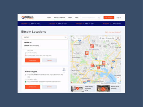 After redesign: Bitcoin Locations Page